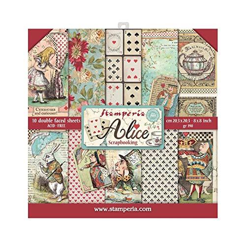 STAMPERIA Blocco di Carta, 10 Fogli, 20,3 x 20,3 (8' x 8') Double-Face Alice, Multicolore, 20.3 x 20.3