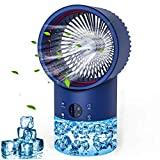 Portable Air Conditioner Fan, Personal Air Cooler Mini with Timing, 7 Colors Light, 3 Speeds Quiet Air Humidifier, for Room, Home, Office (Dark Blue)