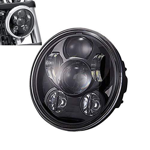 LiTAI 5-3/4 5.75inch Motorradscheinwerfer 45W Hi/Lo Beam Round LED Scheinwerfer (Schwarz)