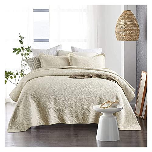 Gesteppte Tagesdecke Baumwolle Tagesdecke Beige King Size Gemütliche Warme Reine Farbe Stickerei Steppbettüberwürfe Tagesdecken Creme mit 2 Kissenbezügen Bettbezug