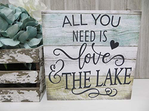 Rustieke houten plaque muur kunst opknoping teken hout Lake Sign, alles wat je nodig hebt is liefde en het meer, Lake House Decor, Lake Lover Wood Sign, Lake House Wood Sign 12
