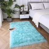 Fulie Ultra Soft Rug Faux Sheepskin Fur Area Rug, Teal Blue Fluffy Shag Rug for Girls Bedroom Bedside Floor Carpets, Fuzzy Plush Rugs for Sofa Living Room Indoor Home Decor, 3x5 Feet