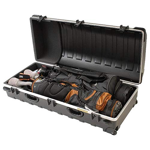 SKB Cases Double ATA Standard Hard Plastic Storage Wheeled Golf Bag Travel...