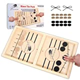 Fast Sling Puck Game Large Size - Wooden Hockey Board Game - Desktop Battle Sling Hockey - Funny Family Home Games - Kids and Adult Ice Hockey - Wood Table Top Slingshot - Test Your Speed