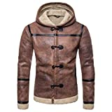 AOWOFS Men's Hooded Faux Leather Jacket Brown Suede Moto Bomber Shearling Winter Fur Lining Coat