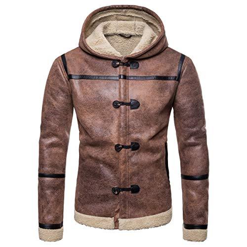AOWOFS męska skórzana kurtka z futrzanym kapturem zima regularne dopasowanie podszyte skóra kurtka brązowa gruba