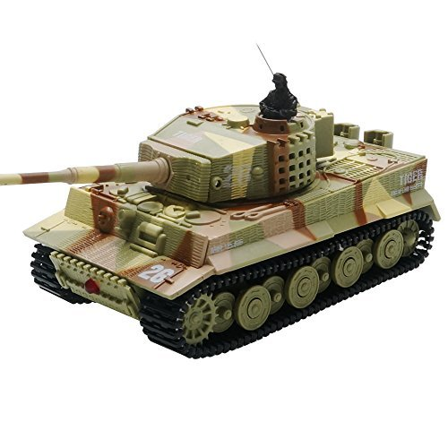 ARRIS German Tiger I Panzer 1:72 Mini RC Remote Control Tank Hobby Vehicle Toy Gift with Sound, Light, Rotating Turret and Recoil Action when Cannon Artillery Shoots