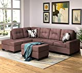 Ctdream Sectional Sofa 3 Piece Sofa Sets Couches with Reversible Chaise Lounge Storage Ottoman and Cup Holders for Living Room Brown Fabric