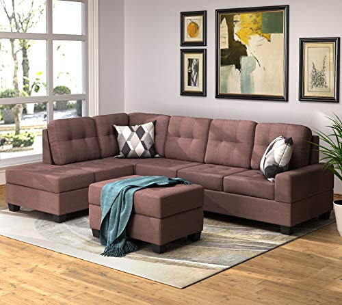Merax Sectional Sofa with Chaise and Ottoman 3-Piece Sofa for Living Room Furniture, Brown