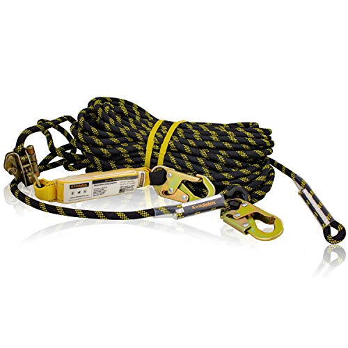 KwikSafety (Charlotte, NC) TSUNAMI (Premium BRAIDED ROPE) Vertical Lifeline Assembly with Rope Grab Snap Hooks Shock Absorber ANSI OSHA Fall Protection Restraint Roofing Safety Equipment   150 ft.