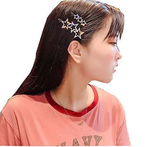 YYXDP Haarspangen Weiblich Dreiteilig Einfache Seitenklammer Diamant Fünfzackiger Stern Pony Clip Mädchen Persönlichkeit Kopfschmuck Haarspangen