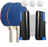 Pawzbay Ping Pong Net Table Tennis Set with 2 Ping Pong Paddles 3 pcs Balls Retractable Net Carry Bag for...