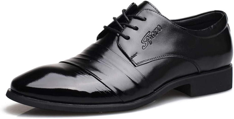 KTYXGKL Men's Single shoes Leather Business Dress Leather Top Leather Lace Men's shoes Leather shoes Men's leather boots (color   Black, Size   43 EU)