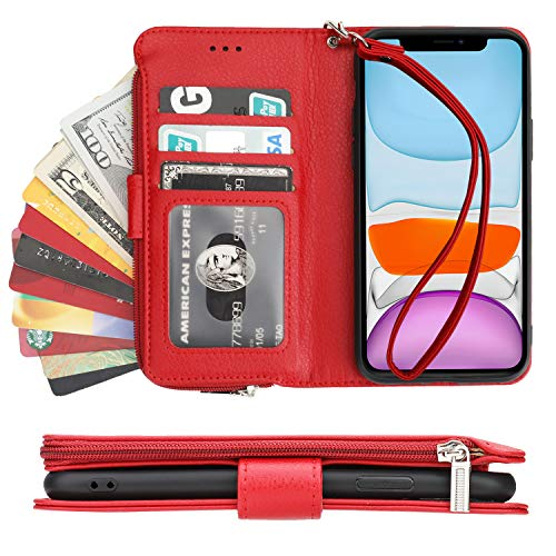 KIHUWEY iPhone 11 Wallet Case Premium Leather Zipper Money Pocket with Credit Card Holder and Wrist Strap,Kickstand and Protective Lanyard Purse Cover for iPhone 11 6.1 Inch Red