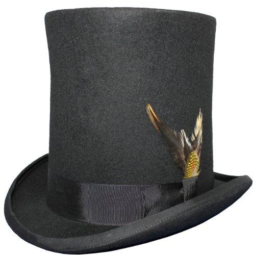 Chapeau haut-de-forme - 100 % laine - Doublure en satin - Plumes amovibles. Chapeau pour homme Lincoln. - noir - X-Large