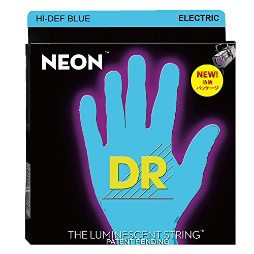 DR Strings Hi-Def NEON Blue Coated Medium (10-46) Electric Guitar Strings