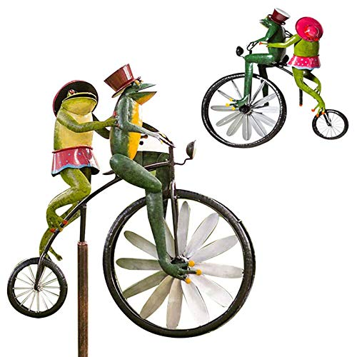 LUANXIU Bicycle Frog Spinner, Vintage Bicycle Metal Wind Spinner, Frog On Bicycle Garden Windmill for Yard Lawn Decor