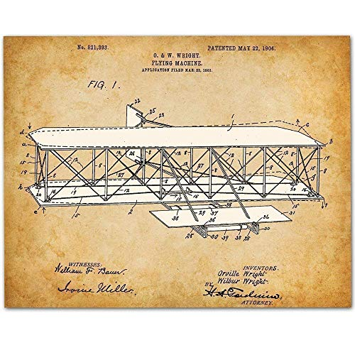 Wright Brothers Flying Machine - 11x14 Unframed Patent Print - Makes a Great Gift Under $15 for Pilots