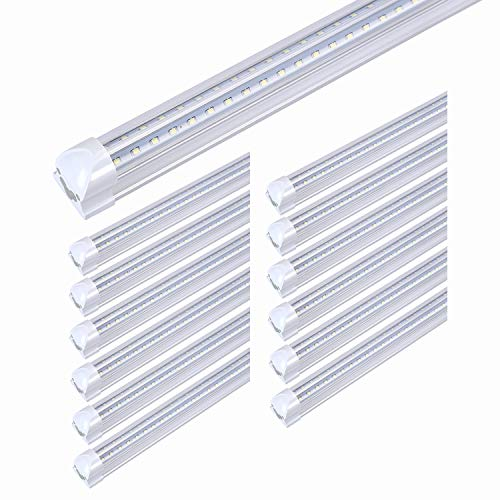 8FT LED Light Fixtures 72W, LED Shop Light 8FT 5000K Daylight White Dual Side T8 V-Shape Integrated 8FT LED Fixture(150W Fluorescent Light Equivalent), 8640Lm, Clear Cover(12 Pack)