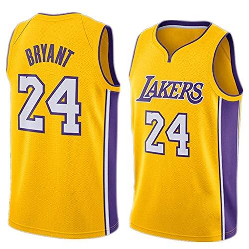 A-lee Herren Damen Lakers 24# Bryant Kobe Trikot Basketball Uniform Basketball Top Bestickt (Gelb-2, XL)
