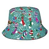 GYHJH Calcetines de Navidad de Estrella Verde Sombrero de Pescador de caña de azúcar Campamento de Playa de Verano Pesca Viaje Gorra de Cubo Sol Mujeres Hombres Moda Unisex Caliente