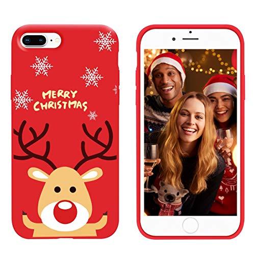 ZhuoFan Cover iPhone 7 Plus / 8 Plus, Custodia Silicone Rosso con Disegni Ultra Slim TPU Morbido Antiurto Christmas Cartoon Pattern Bumper Case Protettiva per iPhone 7 Plus / 8 Plus, Cervo