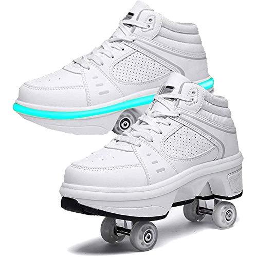 GWYX Rollschuhe Damen, LED 2 In 1 Inline Skates Kinder,Schuhe Mit Rollen Skateboardschuhe,Verstellbare Quad Skate Rollerskates Skating Sneakers Geschenke Für Kinder,White-EU36/UK3
