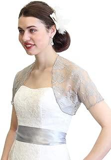 Tion Bridal Womens Lace Bolero Jacket with Short Sleeve
