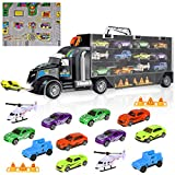 iBaseToy Toy Cars, Transport Car Carrier Truck Toy, Educational Vehicles Toy Car Set for Kids Toddlers Boys Girls (Includes 8 Sports Car, 2 Off-Road Cars, 2 Helicopters, 2 Roadblocks & 1 City Map)