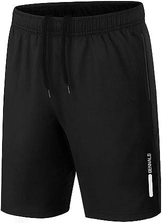 BENNALD Shorts heren sport sportbroek korte joggingbroek korte broek trainingsbroek mannen sneldrogende loopbroek sweatshorts met zak voor sport fitness outdoor zomer zwart