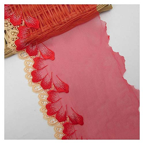 aqiong CGS2 15.5cm Wide Apparel Lace Accessories Embroidery Blue Lace Applique Trim Ribbon Sewing Fabrics Underwear Garment Clothes Lace DIY Sewing Supplies (Size : Red lace trim)