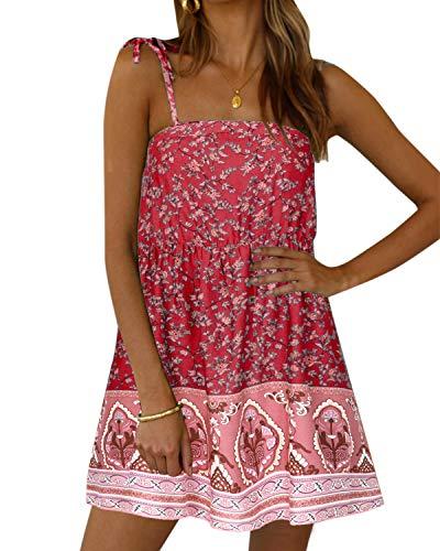 Kidsform Sommerkleid Damen Strandkleid Blumen Kleid Kurz Mini Kleider Ärmellos T-Shirt Kleid Tunika für Sommer Rohroberteil Sexy V-Rot XL