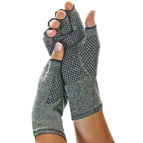 IMAK Compression Active Gloves, Medium – Arthritis, Fibromyalgia, Neuropathy, Joint Pain, & Rheumatoid Support – Fingerless Compression Gloves - All Day Support