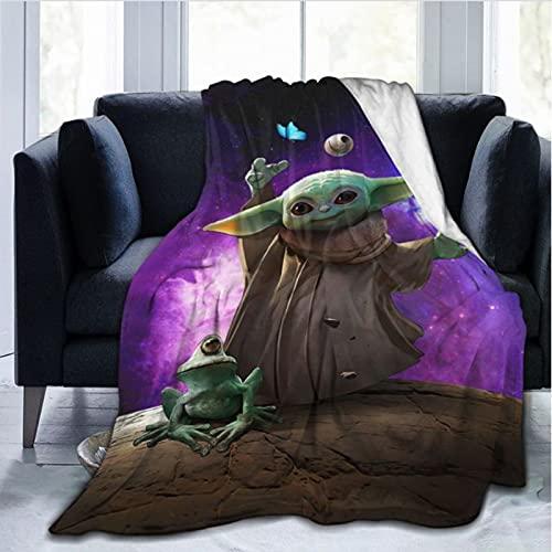 haoshuang Decke Bettwäsche Anime Cartoon Tier warm Baby-Yoda-Star-Wars Bettüberwurf Weiche Cartoon Tagesdecke Sofa Kind Sommer der Park Picknick Dekorativ schön