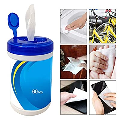 60 Sheets Disposable Wet Wipes 75% Alcohol Wipes Sterilized Cleaning Cotton Wipes Used for Home, Office, Car, Hotel, Restaurant and Public Places by LILYKASURE