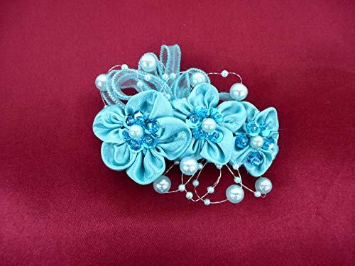 Haarschmuck in Türkis mit Perlen Haarblume Haarblüte Haare Haarspange Feste Abi Ball Geschenk