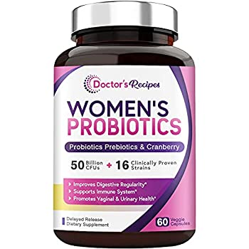 Doctor s Recipes Women's Probiotic 60 Caps 50 Billion CFU 16 Strains with Organic Prebiotics Cranberry Digestive Immune Vaginal & Urinary Health Shelf Stable Delayed Release No Soy Gluten Dairy