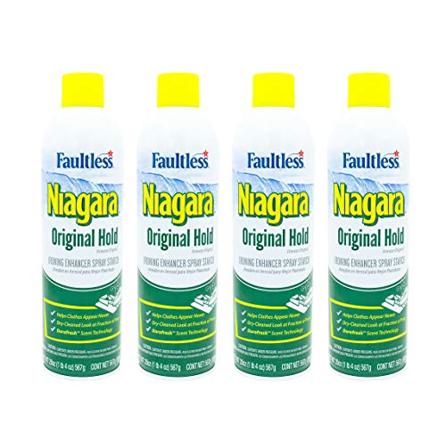 Liquid Starch Iron Spray (4-pack, 20 oz) - Niagara Starch Spray Iron Aid: Non-Flaky/Clogging   Durafresh Scent - Original Hold Iron Out Spray - Iron Spray Pack for Clothes & Fabrics…