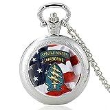 TUDUDU Bandera Estados Unidos Reloj De Bolsillo De Cuarzo Vintage Cúpula De Cristal Hombres Mujeres Colgante Collar Horas Reloj Regalos Longitud Cadena De Unos 80 Cm