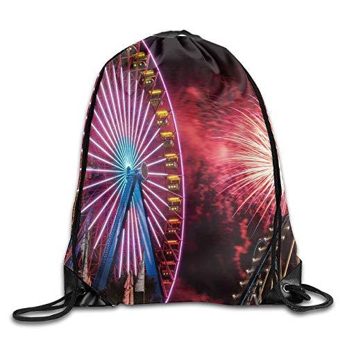 Etryrt Prämie Turnbeutel/Sportbeutel, Beautiful Fireworks Ferris Wheel Unisex Home Rucksack Shoulder Bag Travel Drawstring Backpack Bag