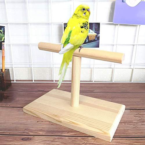 LEUM SHOP Tragbare Holz Vogel Papagei Training Spin Barsch Stand Spielplatz Plattform Spielzeug Wood Color