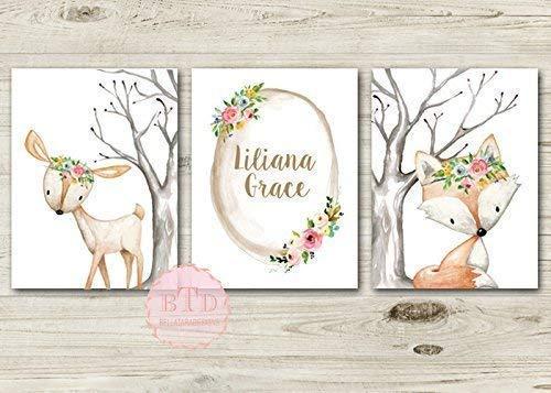 3 piece Poster Set Nursery Frame Wall Art Deco Young Girl Bunny incl