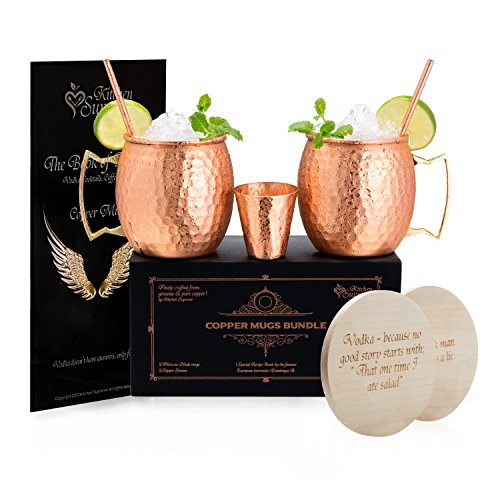 Copper Mugs Moscow Mule Set of 2 – 100% Real Pure Hammered Copper│16oz│2 Premium Drinking Copper Cups + 2 Solid Copper Straws + 2 Wooden Coasters + 1 Shot Glass & Recipe Book in the Deluxe Gift Box