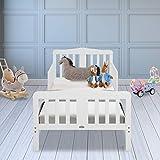 JOYMOR Toddler Bed Kids Wooden Bed Frame w/Safety Guardrail for Children Bedroom Furniture for Boys & Girls (White)