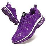 BUBUDENG Femme Basket Chaussures de Sport Running Course Sport Fitness Sneakers Chaussures de Running sur Route Outdoor Casual,38 EU,A Violet