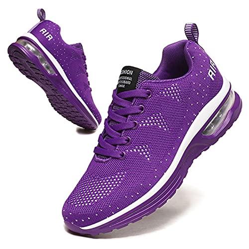 BUBUDENG Zapatillas Casual para Deporte Mujer de Senderismo para Mujer, de Malla Ligera, Transpirables, cómodas Zapatos para Caminar Mesh Running Transpirable Aumentar Más Altos Sneakers,Morado EU39