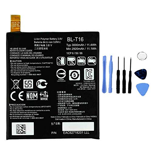 Ellenne Batteria Compatibile con LG BL-T16 per G Flex 2 BLT16 H955 H950 Alta capacità 3000MAH con Kit SMONTAGGIO Incluso