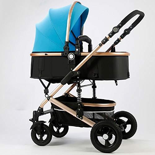 ZXCVB High-End Stilvolle Baby-Auto, tragbare Falten Bidirektionale vierrädrigem stoßdämpfender Kinderwagen, Universal for Vier Jahreszeiten, Vollvorzelt
