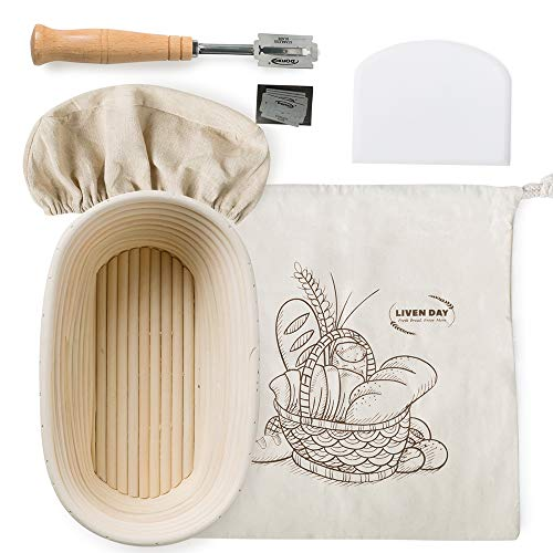 COZIQUE Banneton Proofing Basket Oval 10 inch - All in One Starter Kit - Sourdough Bread Proofing Basket, Dough Scraper, Bread Lame, Basket Liner, Bread Bag - Bread Baking Gifts for Professional & Home Bakers