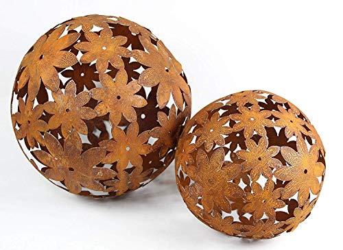 Bornhöft Edelrostkugel Kugel Metall Eisen Rost rostige Dekokugel Gartenkugel (30cm + 40cm)